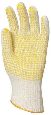 Kesztyű 4365 kötött duplaszálas pamut fehér tenyerén sárga pettyek