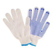 Kesztyű 4349 kötött pamut fehér tenyerén kék pettyek